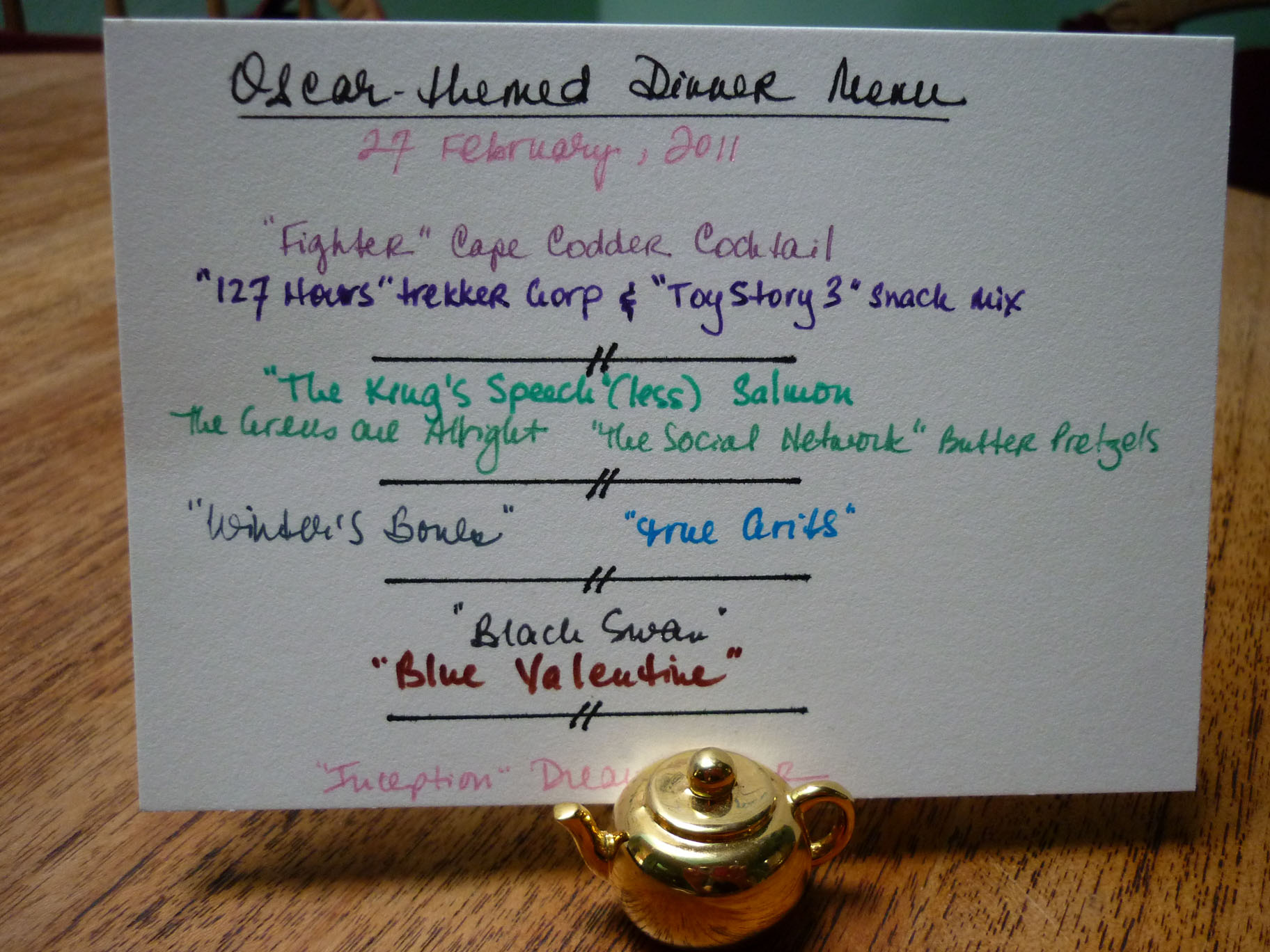 Oscar-Themed Dinner Menu