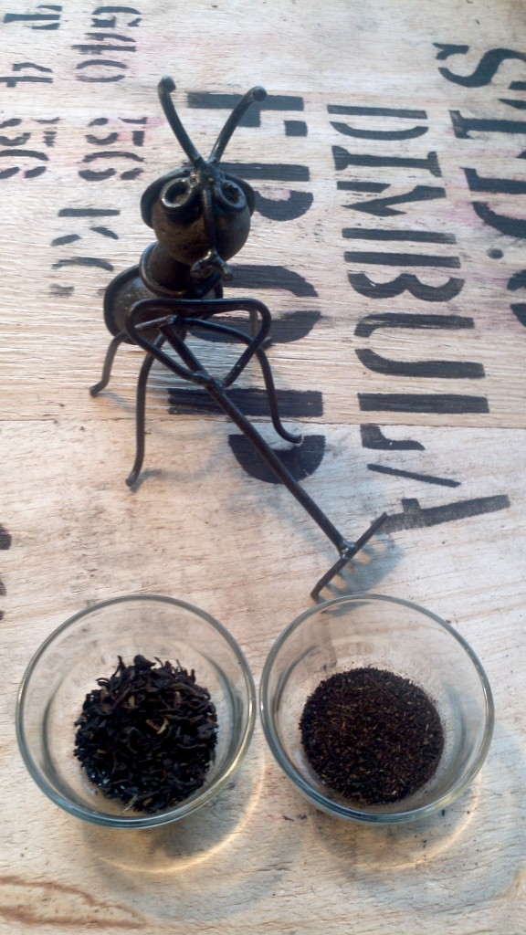 Visual difference between a loose leaf English Breakfast blend by The Tea Spot, and your run-o-the-mill bagged English Breakfast Blend (sans the bag of course!)