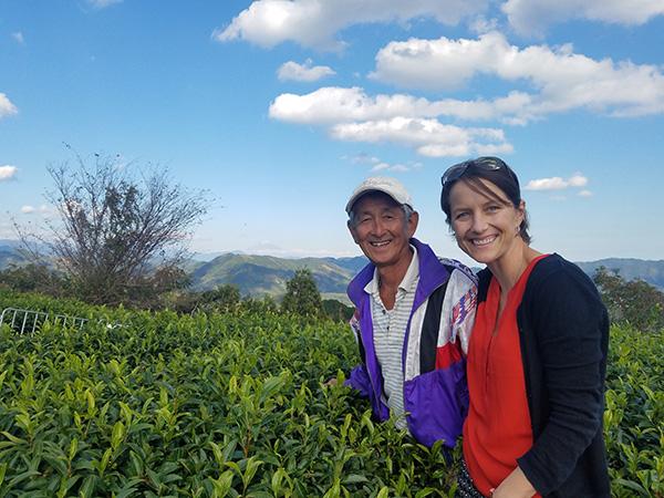 Japanese tea farmer near Mount Fuji